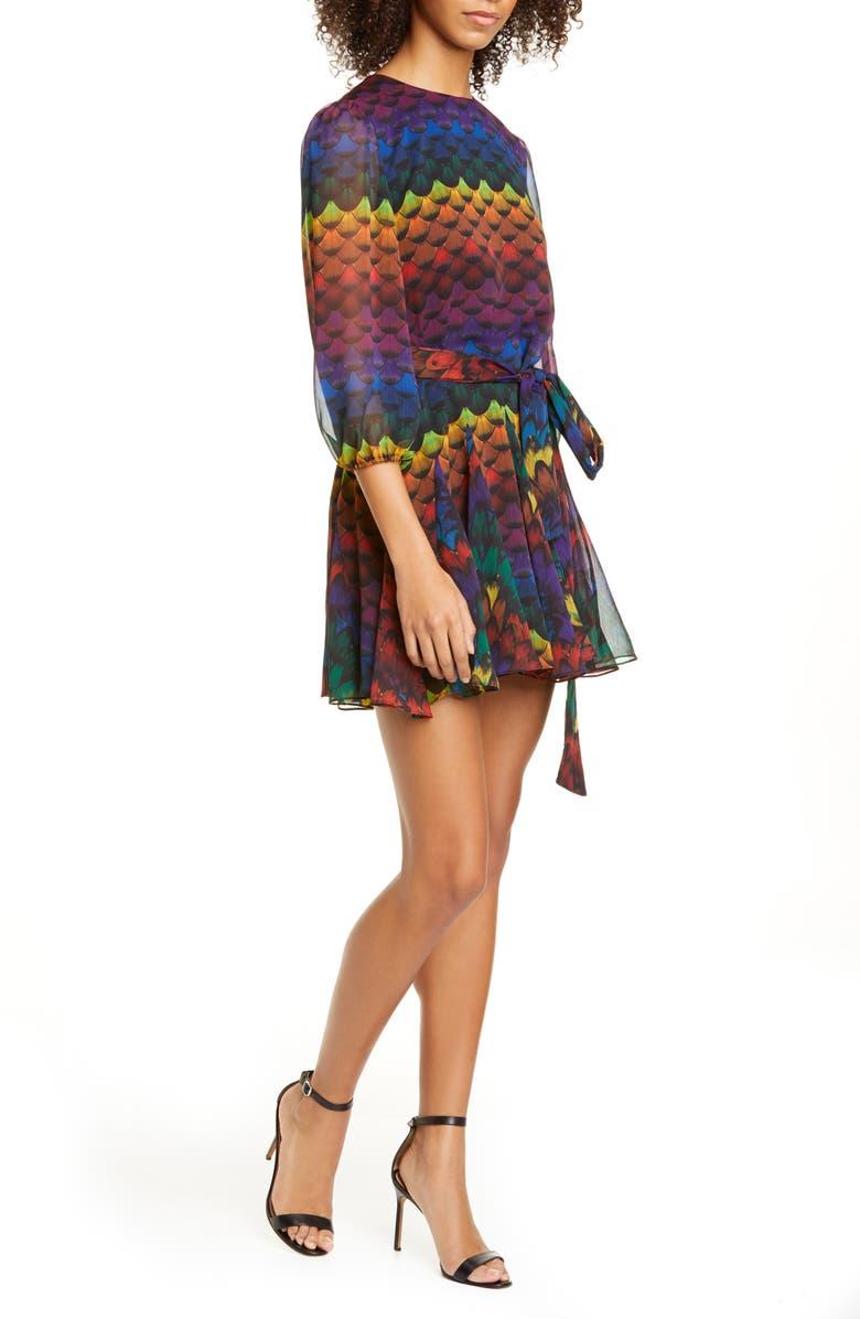 ALICE + OLIVIA Mina Belted Minidress, Main, color, RUFFLED FEATHER MULTI