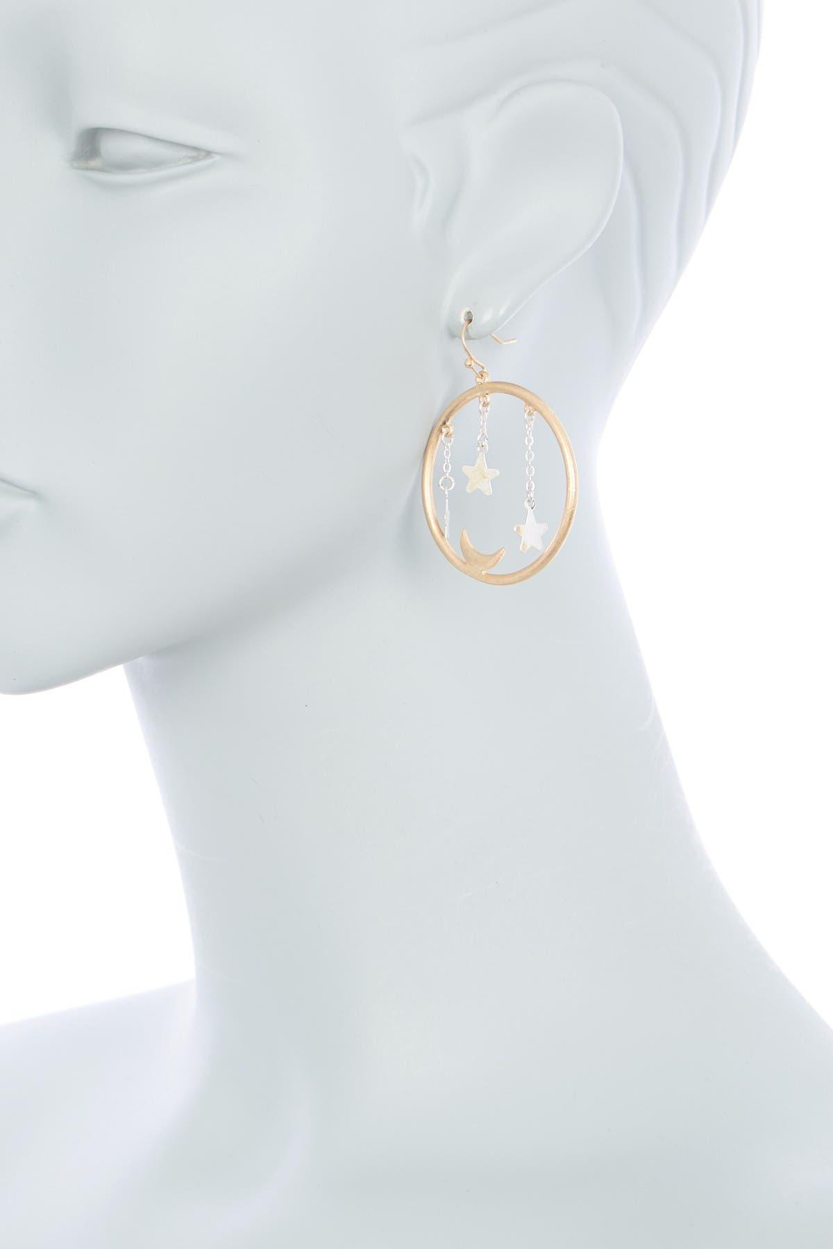 Image of AREA STARS Two-Tone Celestial Circle Drop Earrings