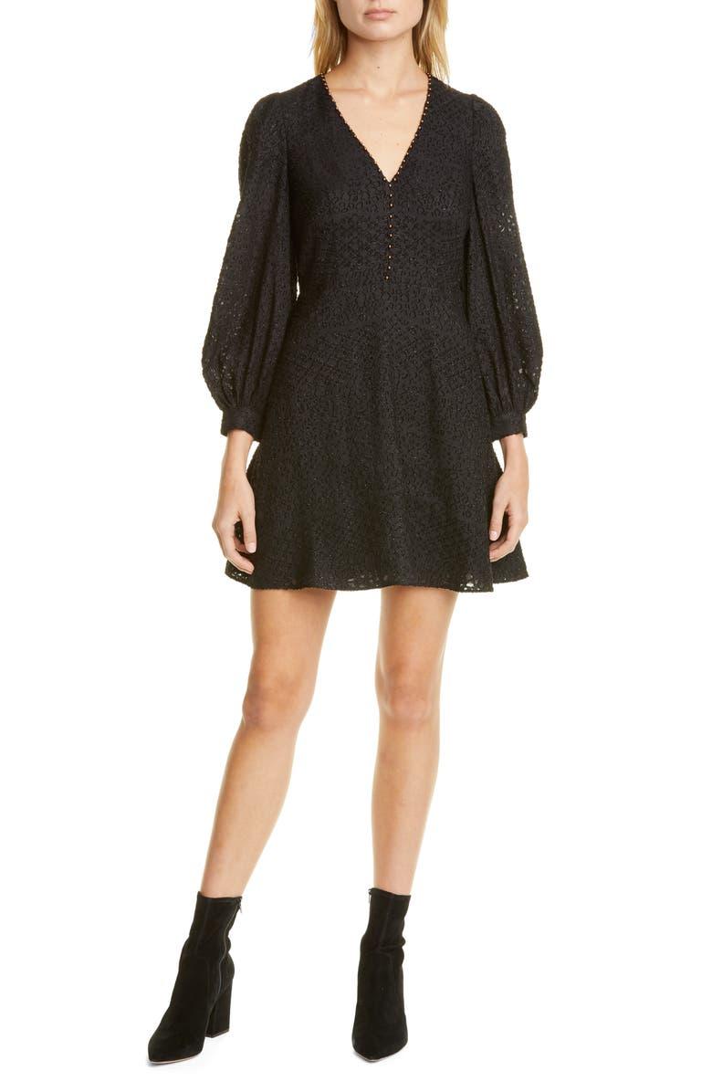 JOIE Breena Metallic Detail Long Sleeve Minidress, Main, color, CAVIAR