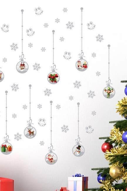 Image of WalPlus Matt Silver Christmas Ornament Wall Sticker Set