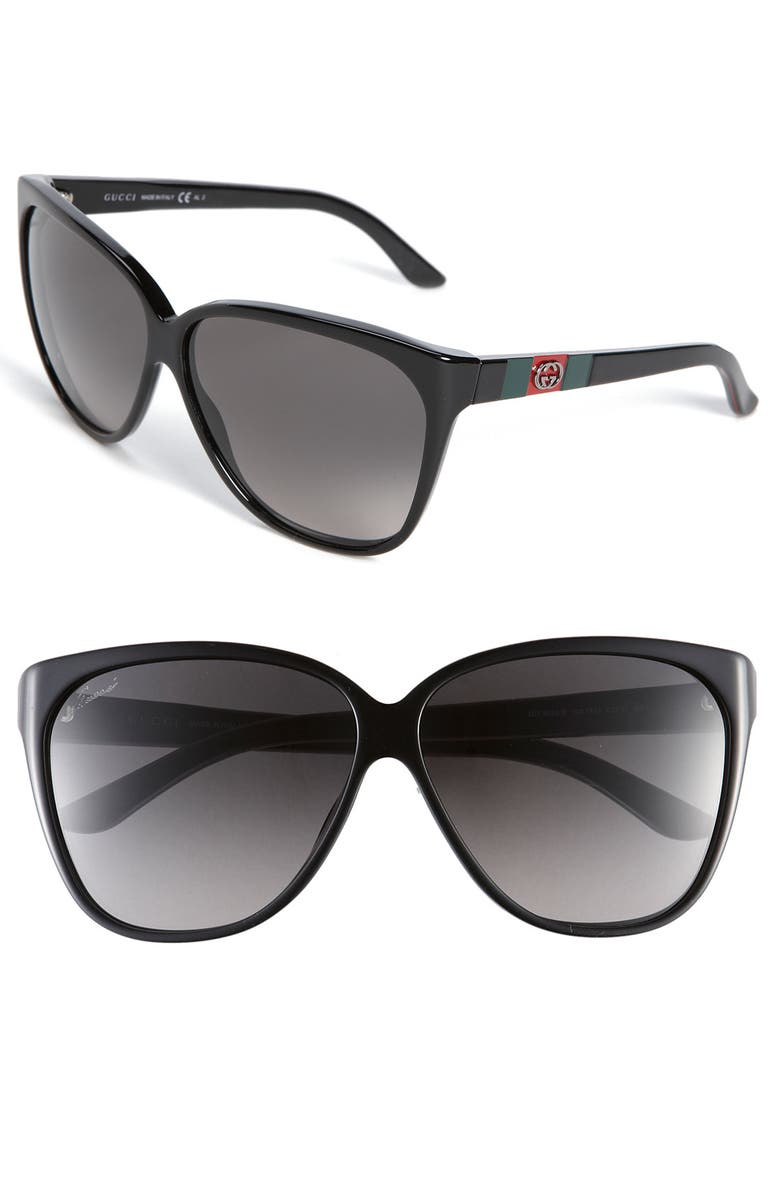 GUCCI 62mm Sunglasses, Main, color, 001