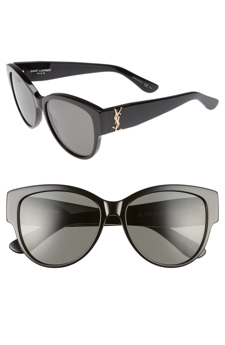 SAINT LAURENT 55mm Cat Eye Sunglasses, Main, color, 001