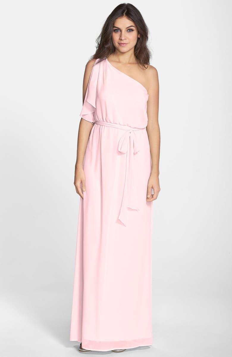 NOUVELLE AMSALE 'Bea' One-Shoulder Chiffon Gown, Main, color, 902