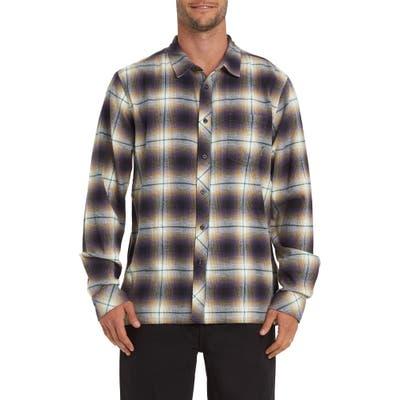 Billabong Coastline Plaid Flannel Button-Up Shirt, Purple