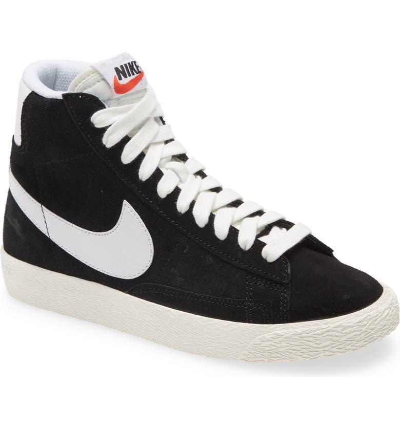 NIKE Blazer Mid Sneaker, Main, color, BLACK/ WHITE