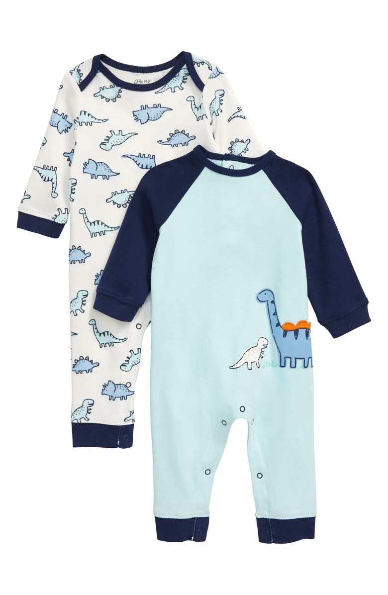 LITTLE ME Dino Set of 2 Rompers, Main, color, BLUE