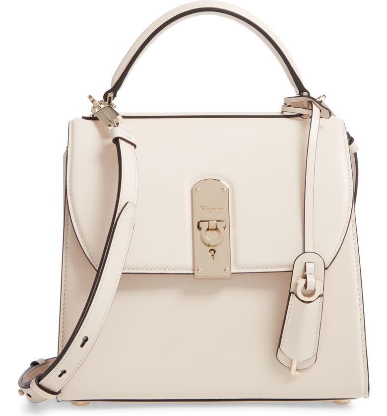 SALVATORE FERRAGAMO Medium Leather Top Handle Bag, Main, color, BONE