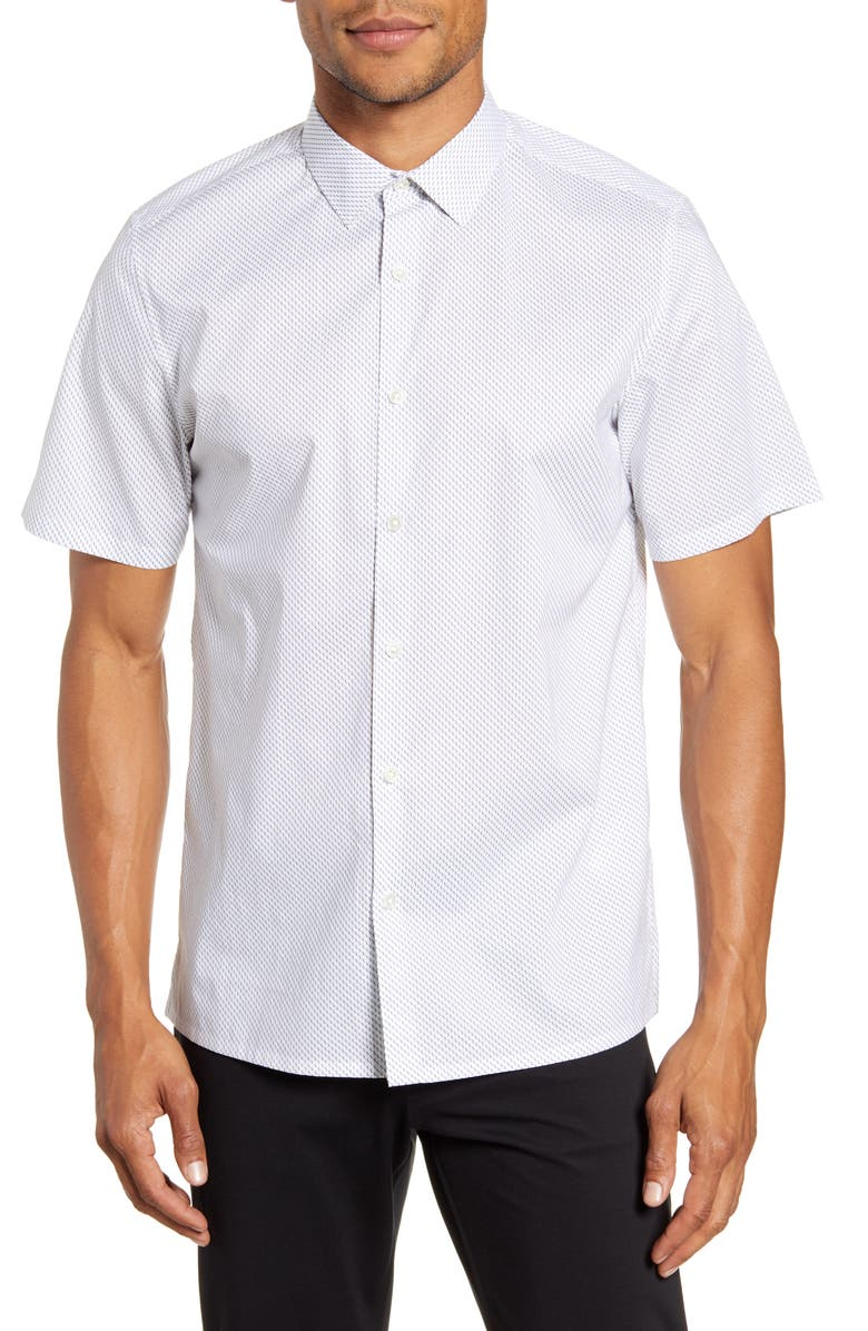 THEORY Murrary Slim Fit Mini Dot Short Sleeve Button-Up Shirt, Main, color, WHITE MULTI
