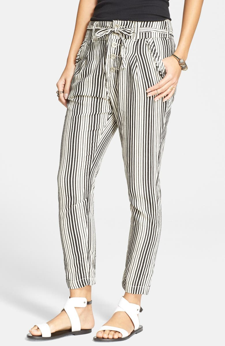 FREE PEOPLE Stripe Beach Trousers, Main, color, 001