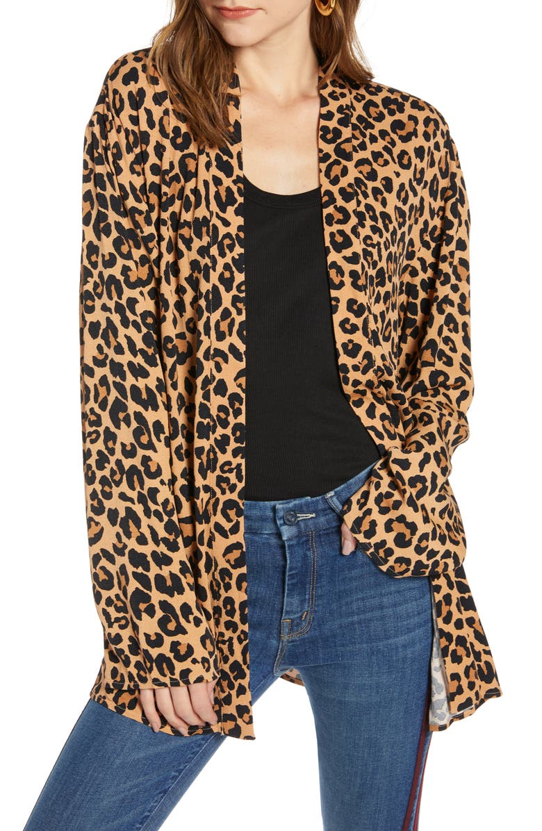 TREASURE & BOND Leopard Print Open Jacket, Main, color, TAN DOE CHEETAH