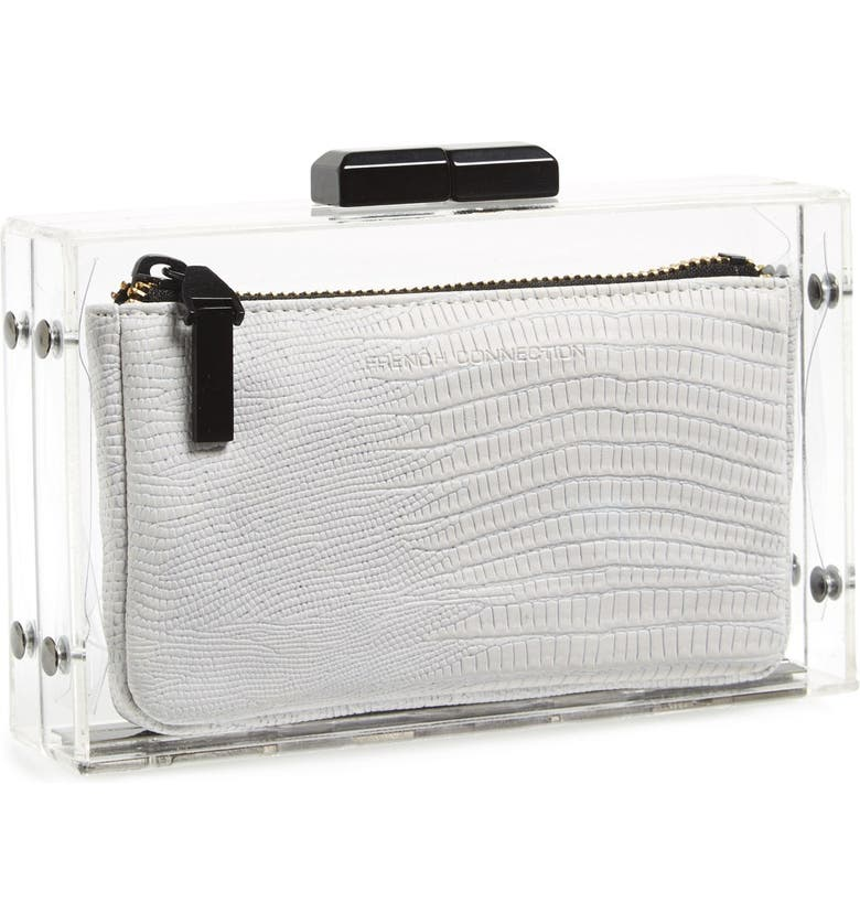 FRENCH CONNECTION 'Crystal Clear' Minaudiere, Main, color, 100