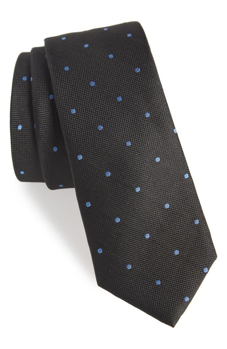 1901 Arnet Dot Skinny Silk Tie, Main, color, 001