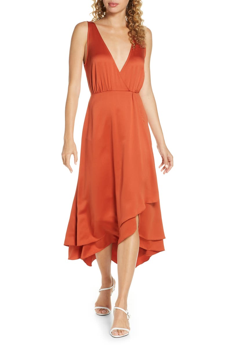 FRENCH CONNECTION Alessia Sleeveless Midi Dress, Main, color, CINNAMON STICK