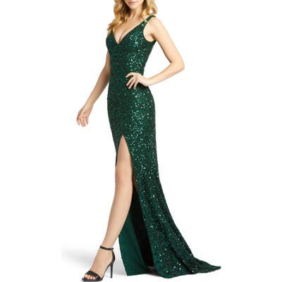 MAC Duggal Sequin Slit Gown, Green
