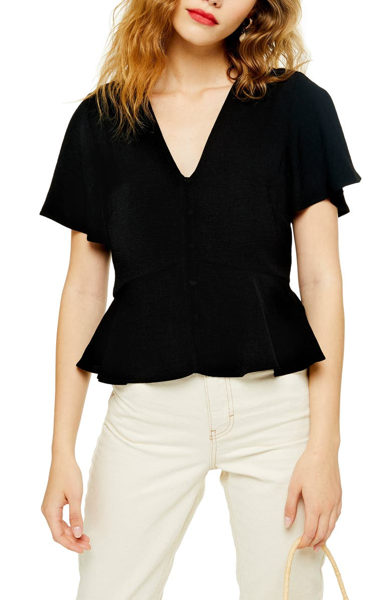 TOPSHOP Meghan Front Button Top, Main, color, BLACK
