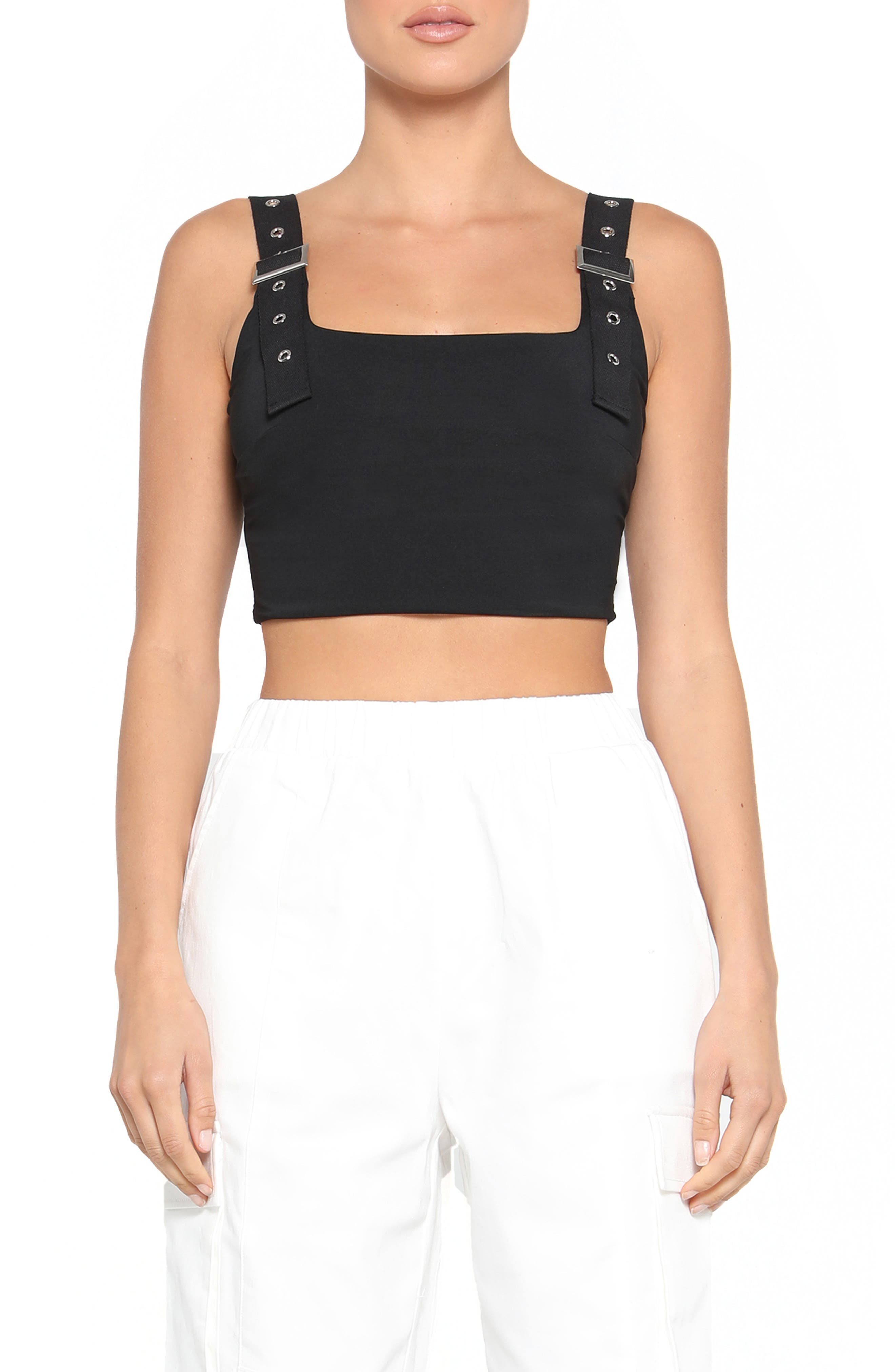 Image of Tiger Mist Kailey Utility Strap Crop Top