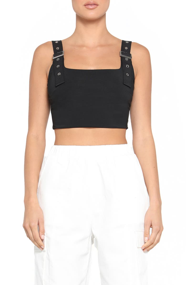 TIGER MIST Kailey Utility Strap Crop Top, Main, color, BLACK