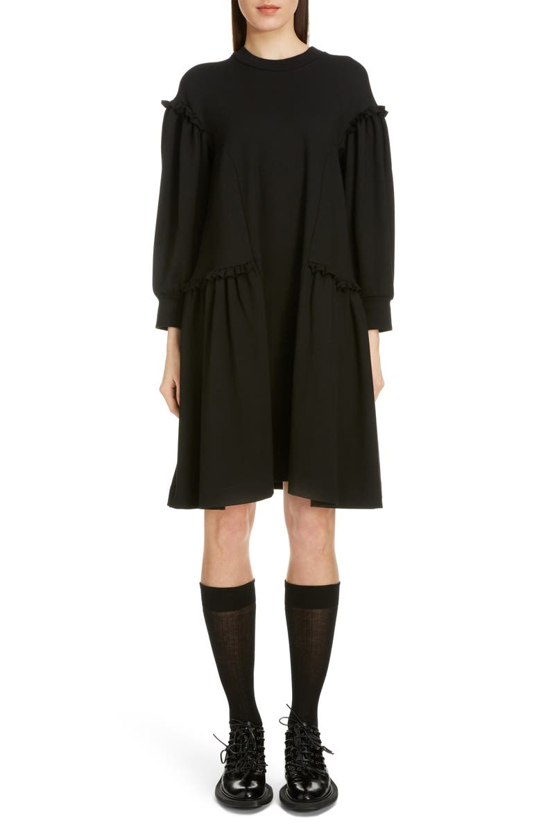 SIMONE ROCHA Side Frill Long Sleeve Jersey Dress, Main, color, BLACK