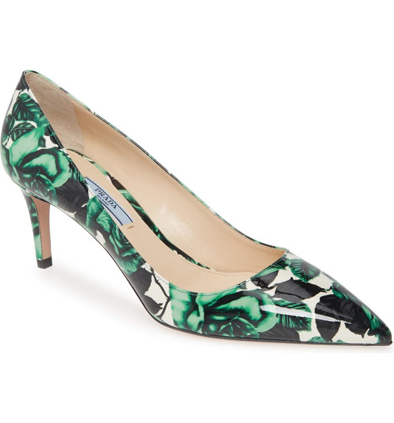 PRADA Floral Kitten Heel Pump, Main, color, GREEN/ BLACK/ WHITE