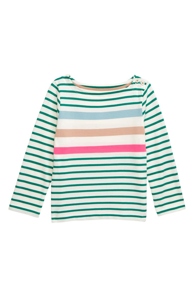MINI BODEN Everyday Breton Stripe Tee, Main, color, HIKE GREEN/ IVORY