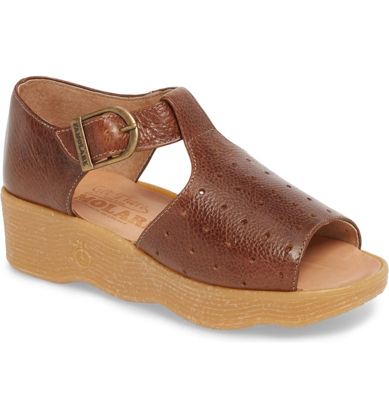 FAMOLARE Holey Moley Wedge Sandal, Main, color, EARTH LEATHER