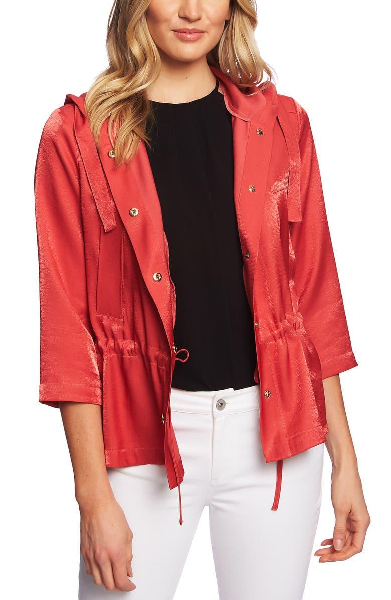 CeCe Shimmer Satin Hooded Jacket