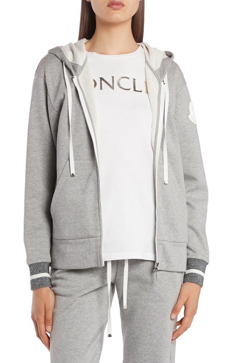 MONCLER Metallic Cuff Zip Hoodie, Main, color, GREY