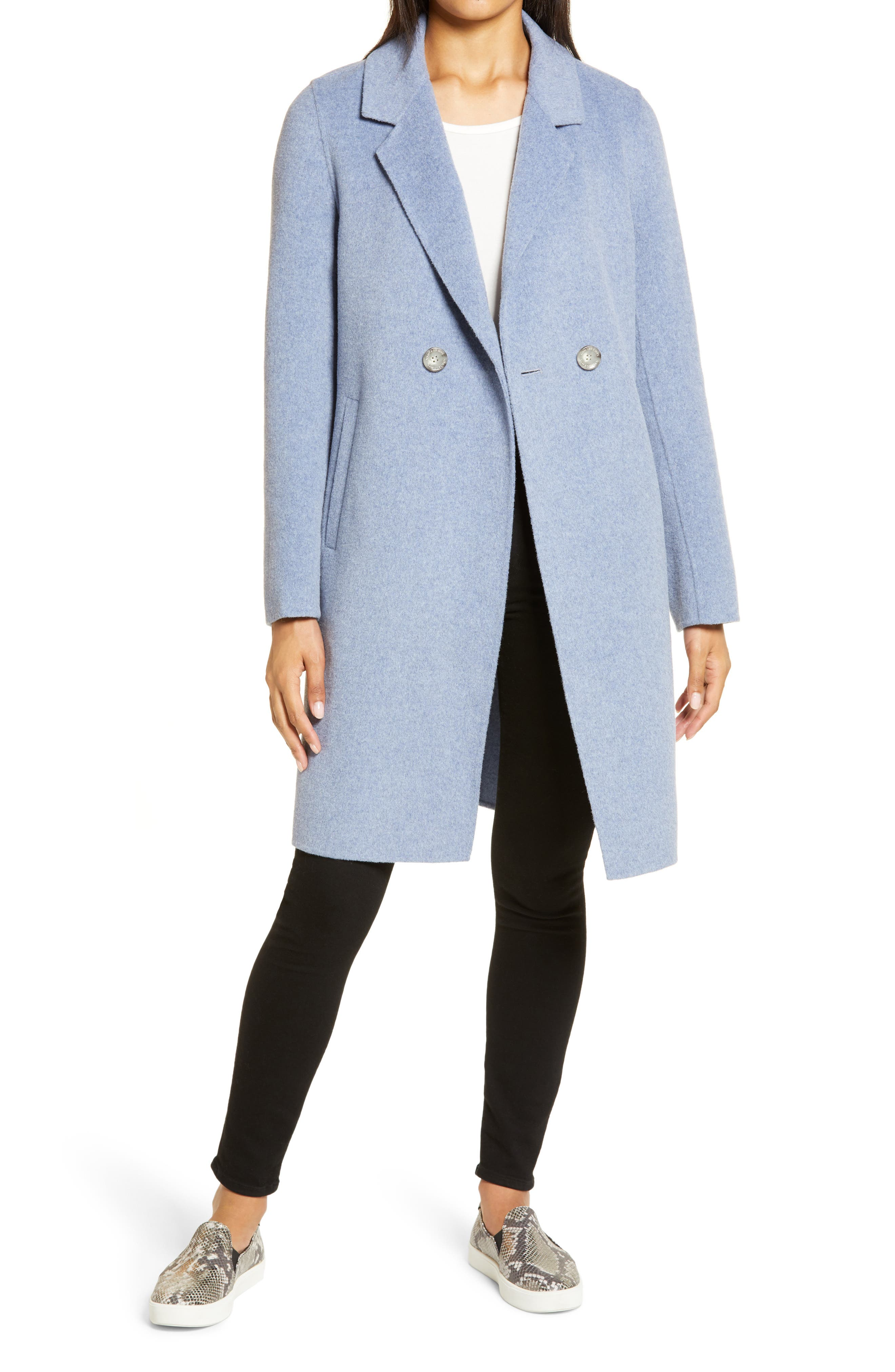The notch-collar coat has been revamped in heathered blue with a longer silhouette that\\\'s perfect for cold-weather commutes. Style Name: Sam Edelman Notch Collar Coat. Style Number: 6067923. Available in stores.