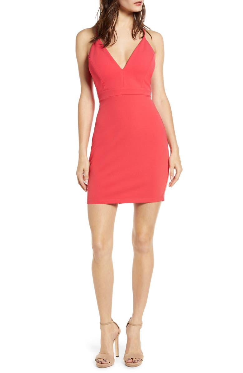 LOVE, NICKIE LEW Illusion Detail Body-Con Dress, Main, color, SHERBET