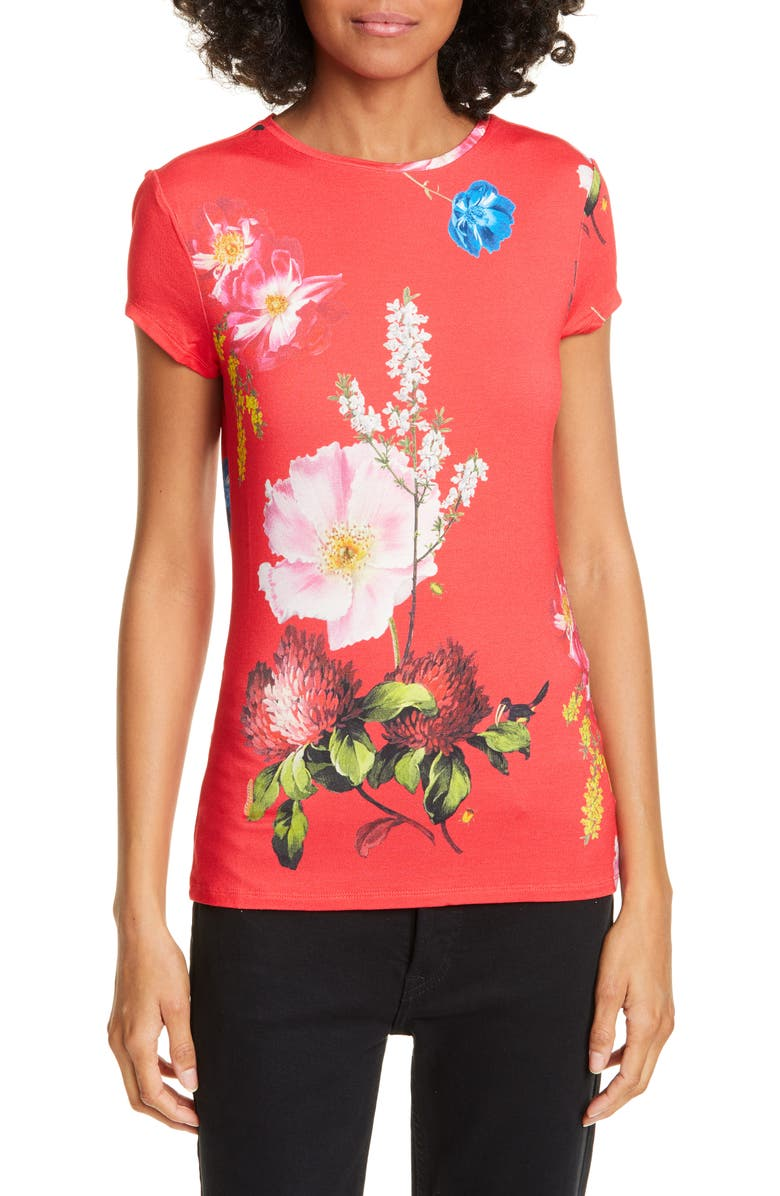 TED BAKER LONDON Dililah Floral Tee, Main, color, GOLD