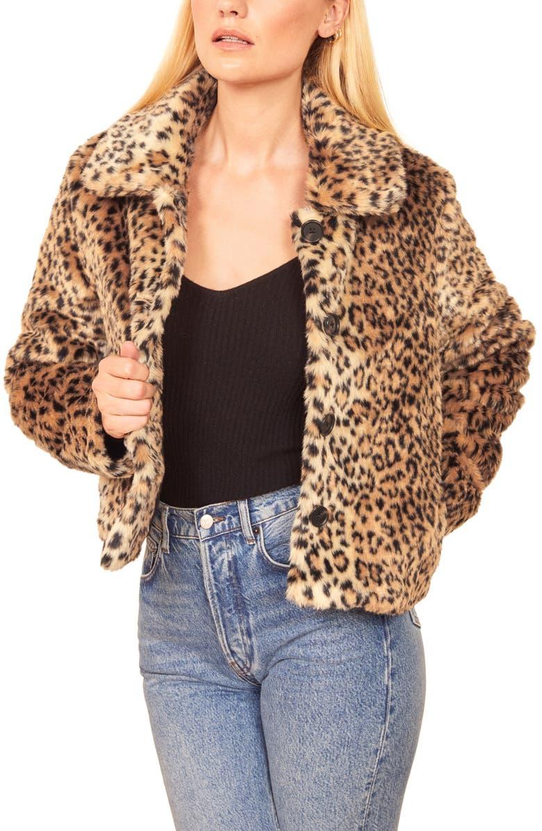 REFORMATION Hampton Faux Fur Coat, Main, color, LEOPARD