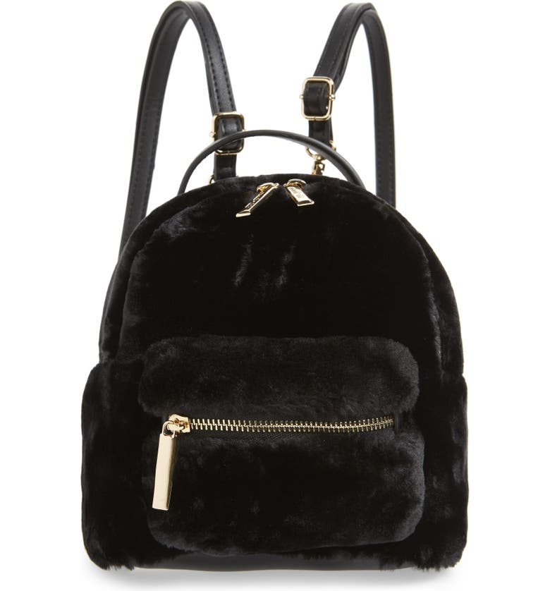 MALI + LILI Gemini Faux Fur & Vegan Leather Convertible Backpack, Main, color, BLACK