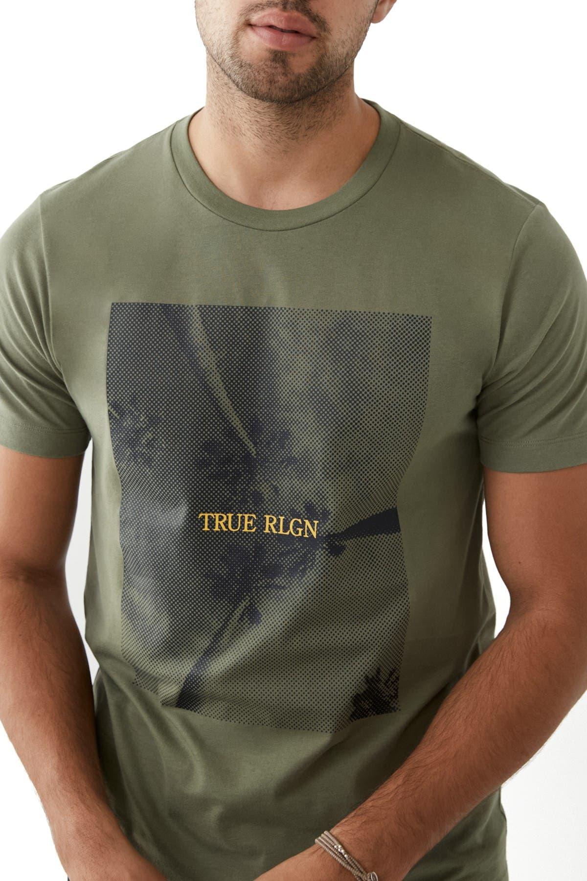 True Religion Tops SHORT SLEEVE PALM TREE CREW NECK