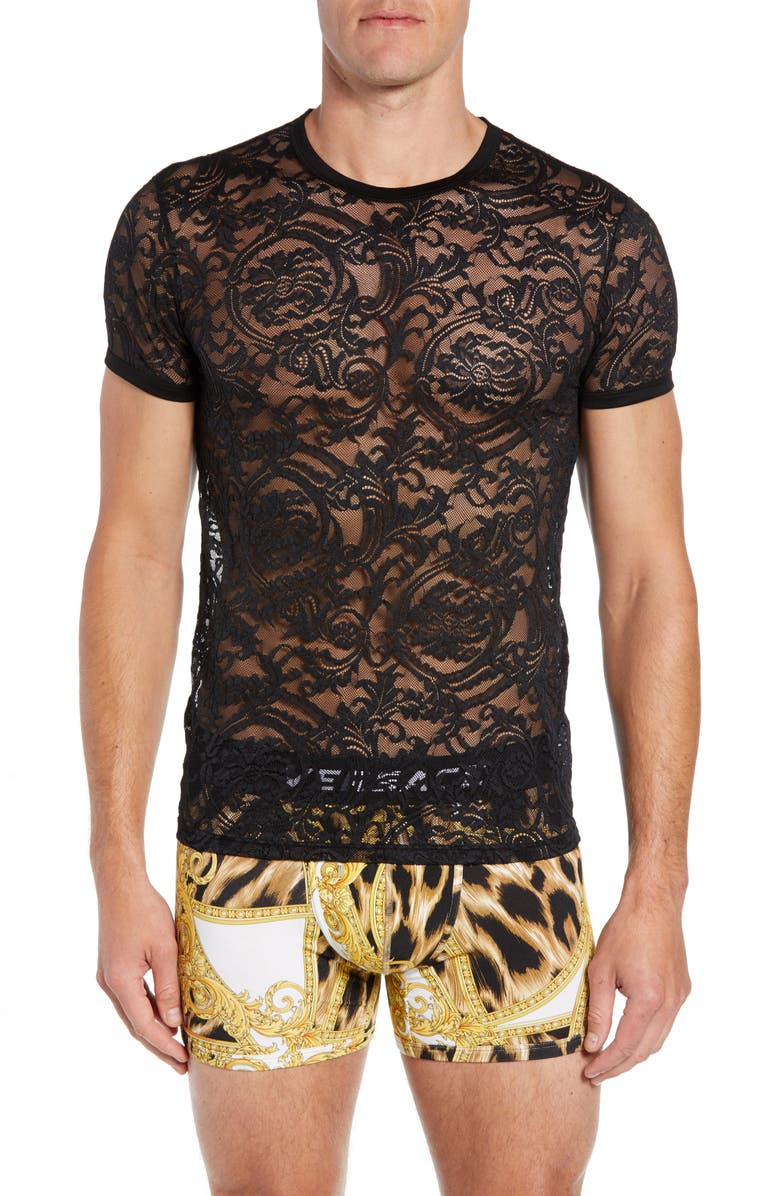 VERSACE Intimo Uomo Lace T-Shirt, Main, color, BLACK