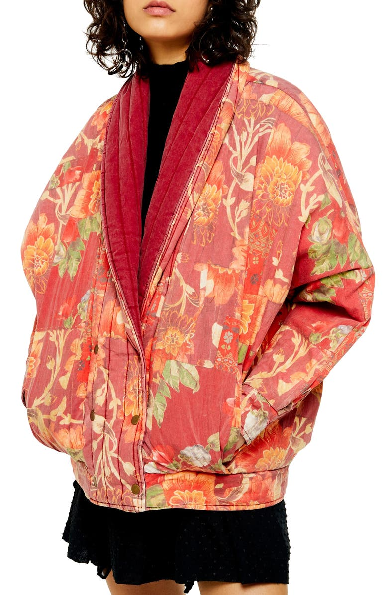 TOPSHOP Reversible Quilted Jacket, Main, color, ROSE