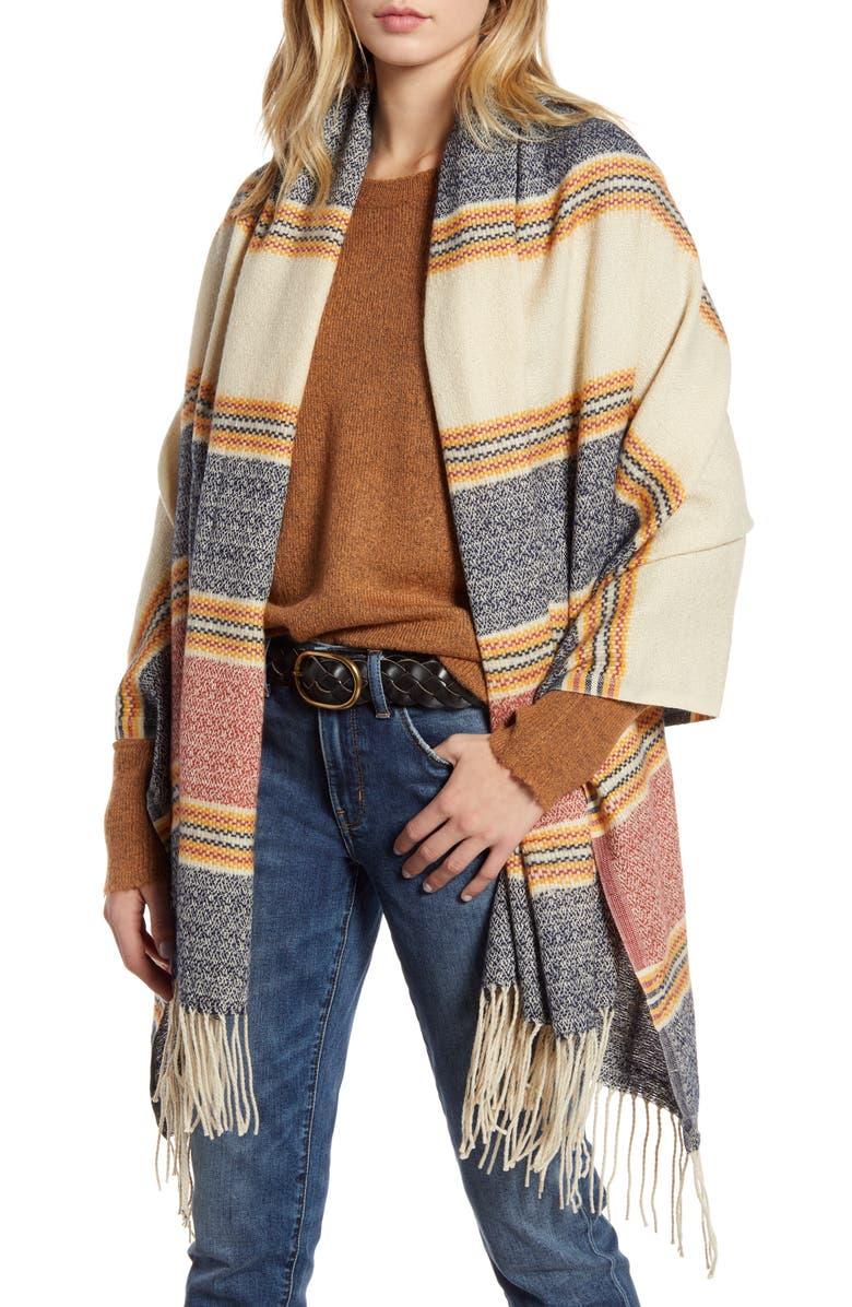 TREASURE & BOND Stripe Blanket Wrap, Main, color, NAVY COMBO
