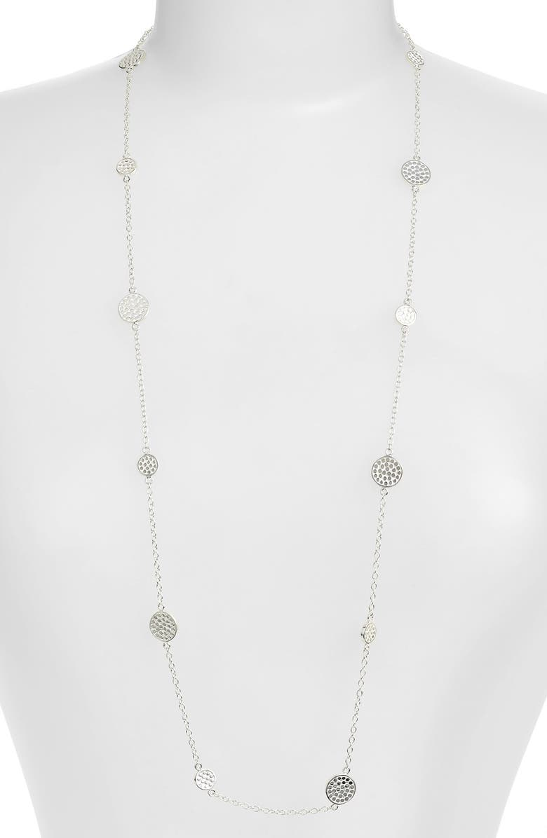 ANNA BECK Long Multi Disc Station Necklace, Main, color, SILVER