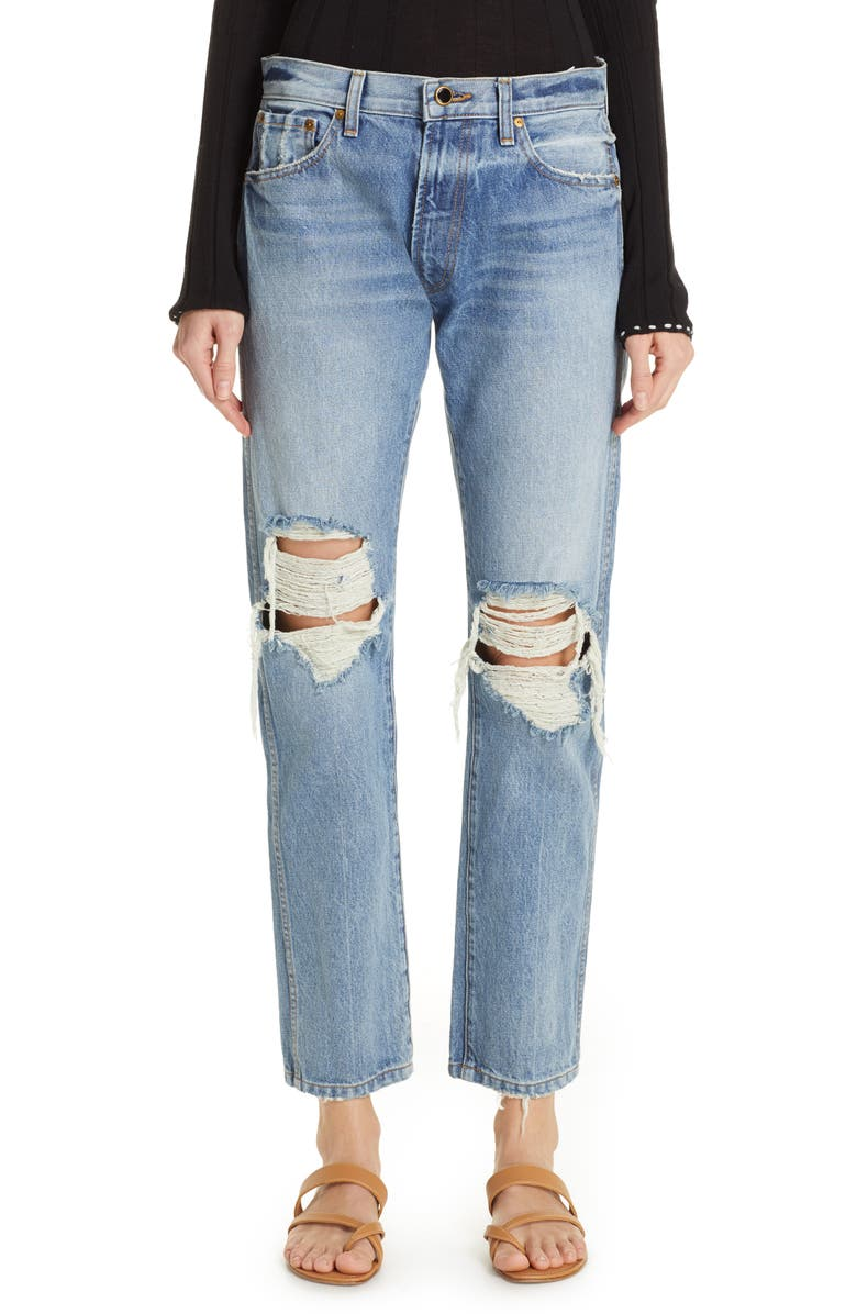 KHAITE Kyle Ripped Relaxed Jeans, Main, color, 400