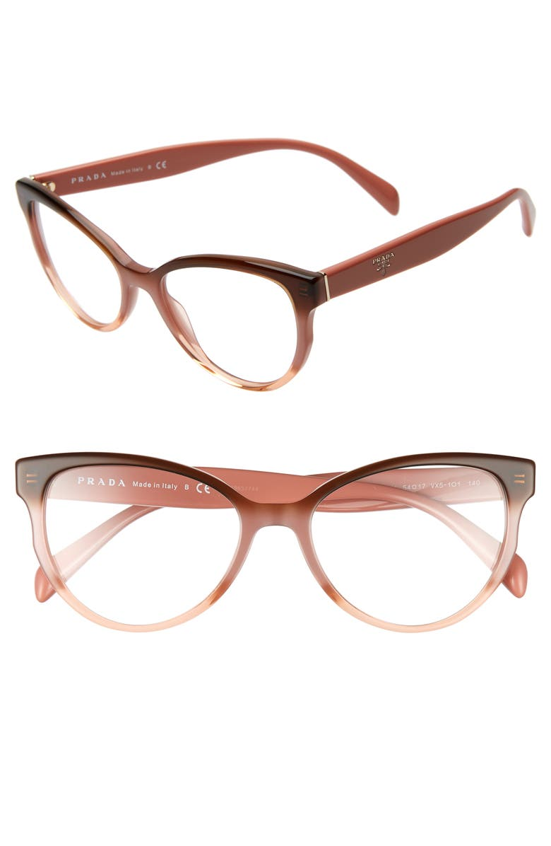 PRADA 54mm Cat Eye Optical Glasses, Main, color, BROWN PINK GRADIENT