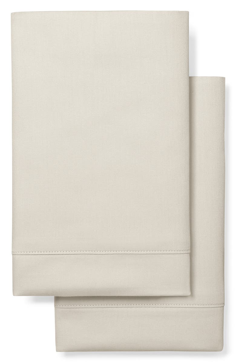 BOLL & BRANCH Classic Hemmed 300 Thread Count Set of 2 Organic Cotton Pillowcases, Main, color, BEIGE