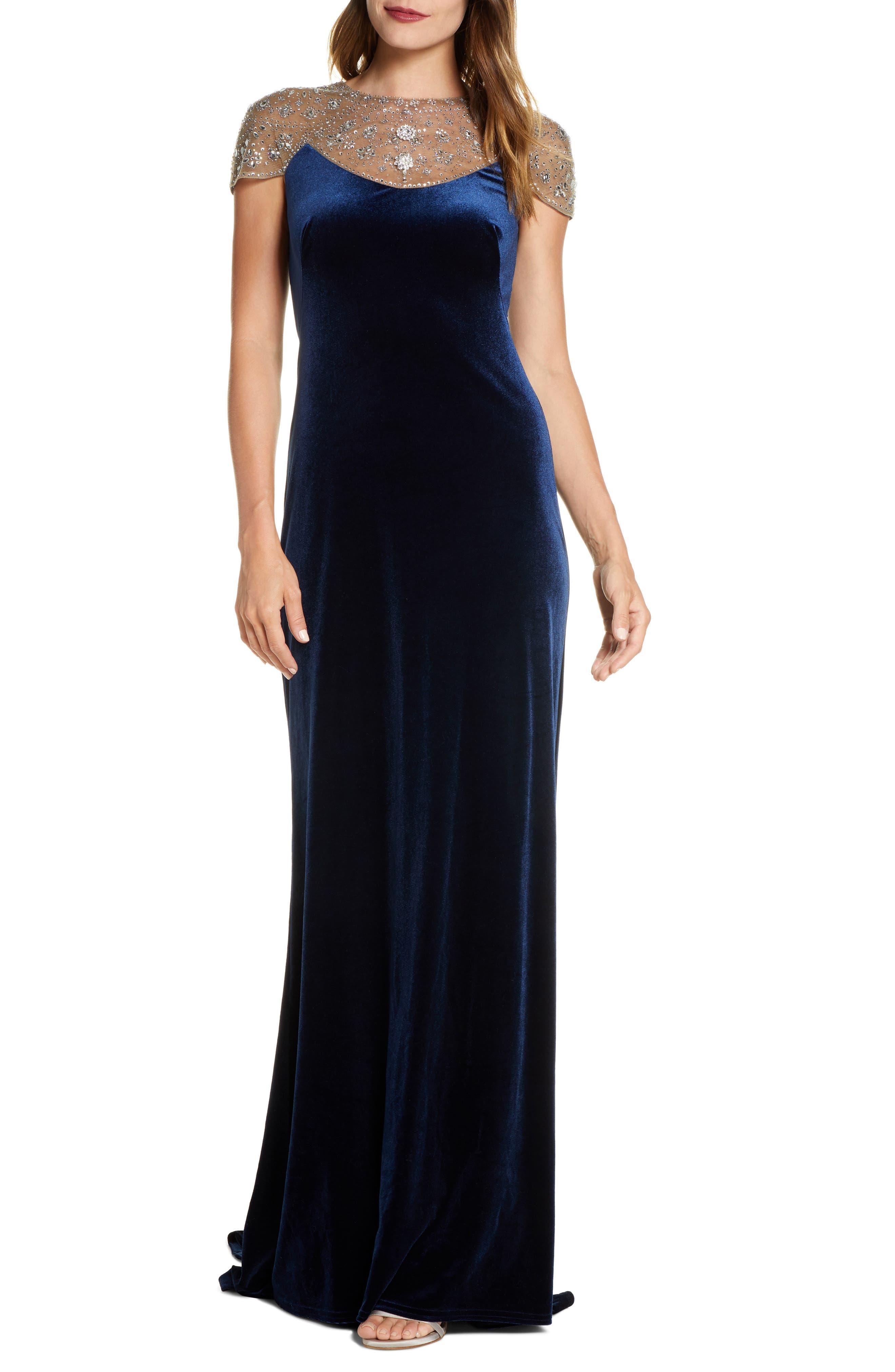 1930s Evening Dresses | Old Hollywood Silver Screen Dresses Womens Tadashi Shoji Embellished Velvet Gown $588.00 AT vintagedancer.com