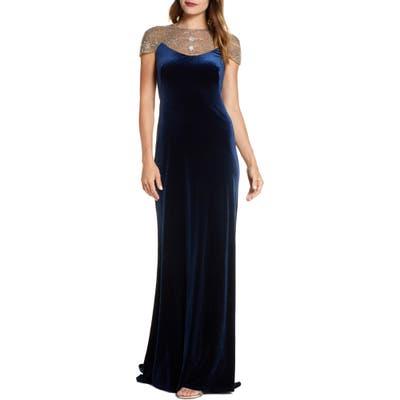 Tadashi Shoji Embellished Velvet Gown, Blue