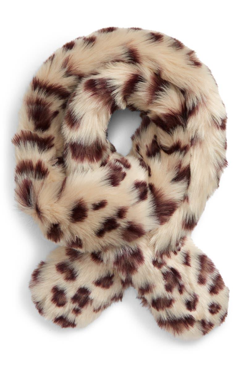 BP. Faux Fur Snow Leopard Scarf, Main, color, IVORY COMBO