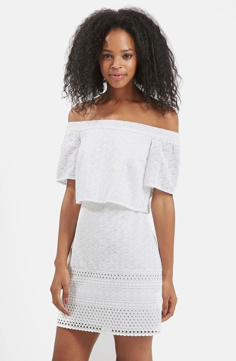 TOPSHOP Embroidered Off the Shoulder Dress, Main, color, 100