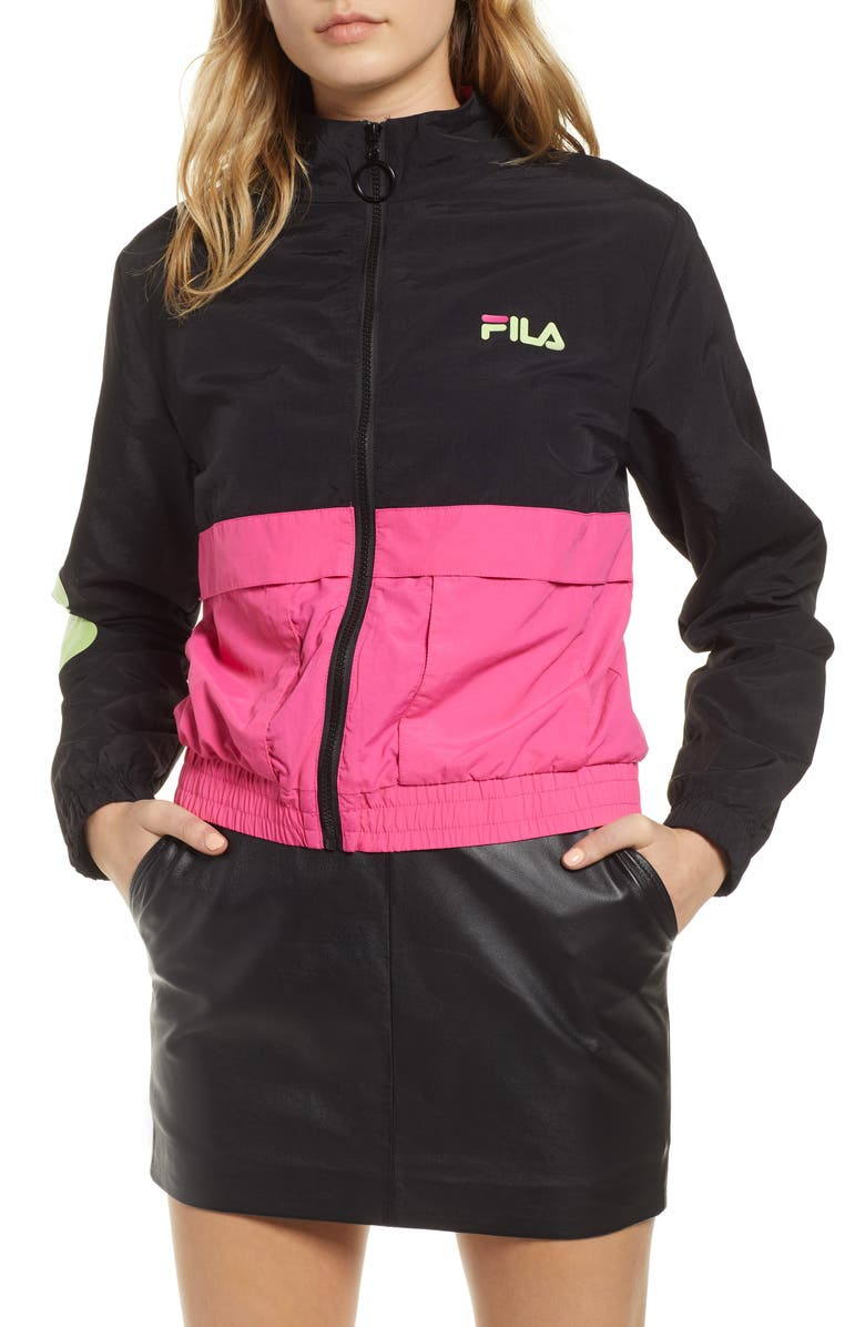 FILA Miguela Colorblock Windbreaker Jacket, Main, color, 001