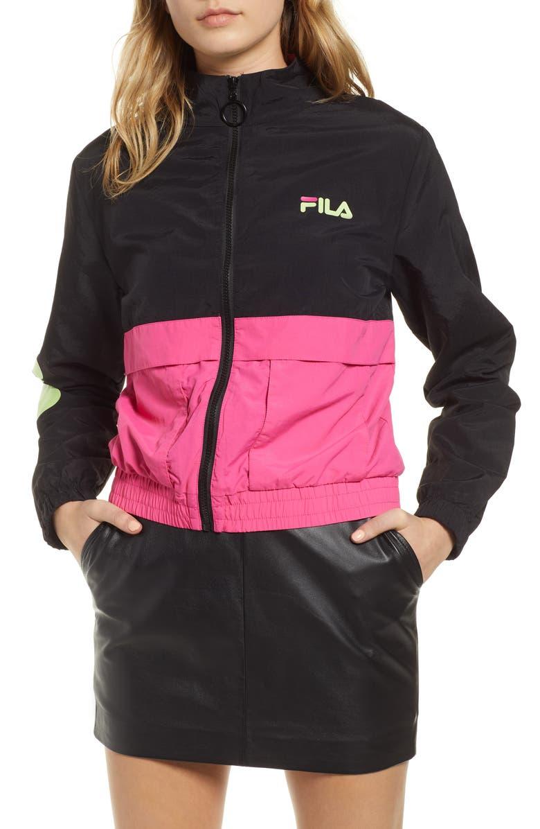 FILA Miguela Colorblock Windbreaker Jacket, Main, color, BLACK