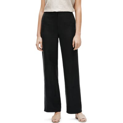 Petite Eileen Fisher Straight Leg Pants, Black
