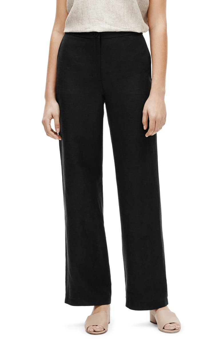 EILEEN FISHER Straight Leg Pants, Main, color, 001