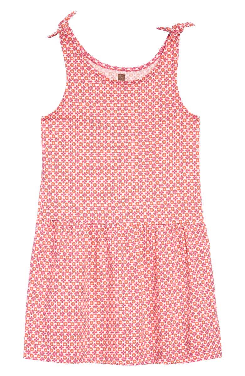 TEA COLLECTION Print Tie Shoulder Dress, Main, color, FLORAL GEO
