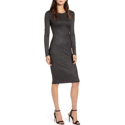 Chelsea28 Metallic Long Sleeve Sheath Dress, Black